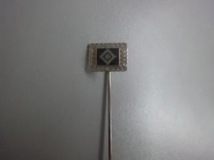 Anstecknadel HSV Raute mit silbernem Kranz rechteckig